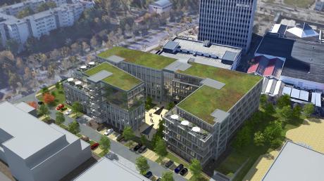 So soll der Gebäudekomplex B und C aussehen, der auf dem Areal des Toni-Parks hin zur Rumplerstraße gebaut werden soll. Die Baufirmen warten auf die Baugenehmigung.