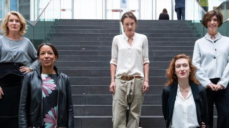 Maria Furtwängler (von links), Janina Kugel, Katja Kraus, Nora Bossong und Jutta Allmendinger fordern eine Frauenquote.
