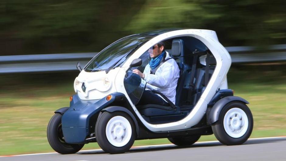 Auto Renault Twizy Elektro Auto Trifft Motorrad Auto Verkehr