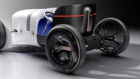 Der Vision Mercedes Simplex könnte theoretisch mit elektrischen Radnabenmotoren fahren, ist aber eine reine Designstudie.