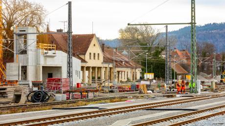 Die Bahnhofsbaustelle im Lindauer Stadtteil Reutin.