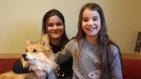 Die Schwestern Lynn (links) und Maya sind hochbegabt. Für die Eltern ist das ziemlich herausfordernd. Corgi Ahri nimmt es gelassen.