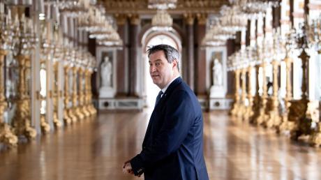 Markus Söder im vergangenen Jahr im Schloss Herrenchiemsee, damals bei einer Klimaschutzkonferenz. Nun ist hier Kanzlerin Angela Merkel sein Gast.