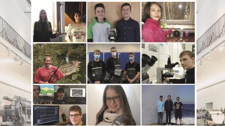 """Die Regionalsieger von """"Jugend forscht"""" und """"Schüler experimentieren"""" beim ersten digitalen Regionalentscheid in Augsburg."""