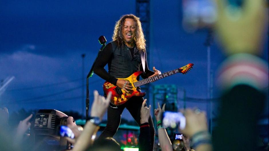 Der Gitarrist der US-amerikanischen Metal-Band Metallica, Kirk Hammett bei Rock im Park.