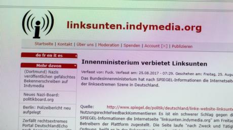 Die Aufnahme zeigt am 25.08.2017 die Internetseite «linksunten.indymedia.org». Sieben Wochen nach linksextremen Krawallen am Rande des G20-Gipfels in Hamburg hatte das Bundesinnenministerium die Plattform verboten.