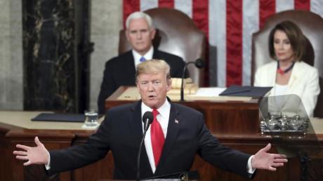 US-Präsident Donald Trump bei seiner Ansprache zur Lage der Nation vor dem Kongress in Washington.