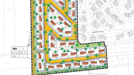 """So sieht die Planzeichnung zum Bebauungsplan """"Unterfeld"""" aus – es ist ein erster Entwurf, über den die Höchstädter Stadträte am Montag diskutierten."""