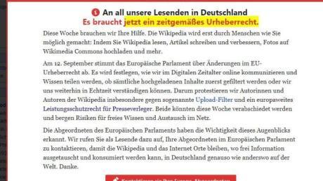 Vorschalt-Seite der freien Internet-Enzyklopädie Wikipedia, auf der zum Protest gegen die geplante Reform des europäischen Urheberrechts aufgerufen wird.