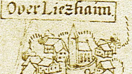 Oberliezheim in einem Kartenausschnitt von 1610.
