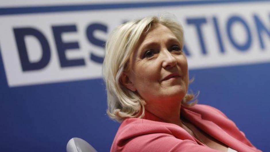 Marine Le Pen, Vorsitzende der rechtspopulistischen Partei «Rassemblement National» ausFrankreich, bei einer Pressekonferenz zur bevorstehenden Europawahl. Foto: Jean-Francois Badias/AP