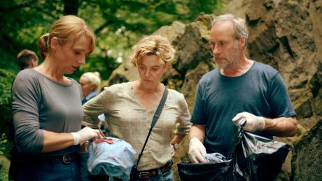 """Anna Janneke (Margarita Broich) und Paul Brix (Wolfram Koch) und der grausige Fund. Szene aus dem neuen Frankfurt-Tatort """"Das Monster von Kassel"""", der heute im Ersten läuft."""