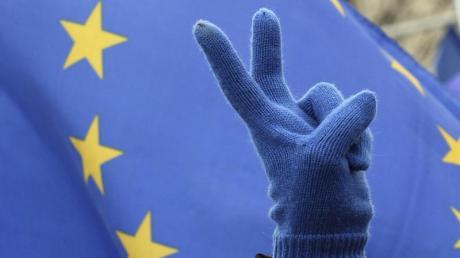 Ein Teilnehmer eines Marsches für Europa zeigt das Victory-Zeichen. Foto: Alik Keplicz/AP/Archiv