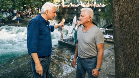 """Leitmayr (Udo Wachtveitl) und Batic (Miroslav Nemec) sind bei ihren Ermittlungen nicht immer einer Meinung. Szene aus dem Tatort """"Die ewige Welle"""", der heute im Ersten läuft."""