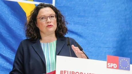 Andrea Nahles bei einer Pressekonferenz zu den Ergebnissen der Europawahl.