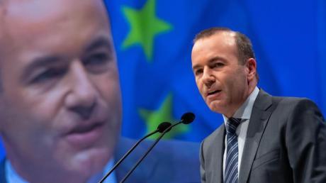 Manfred Weber am vergangenen Freitag während der gemeinsamen Abschlusskundgebung zur Europawahl von EVP, CDU und CSU in München. Foto: Sven Hoppe