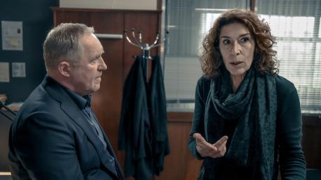 """Bibi Fellner (Adele Neuhauser) und Moritz Eisner (Harald Krassnitzer): Szene aus dem Wien-Tatort """"Glück allein"""", der am Sonntag im Ersten lief."""