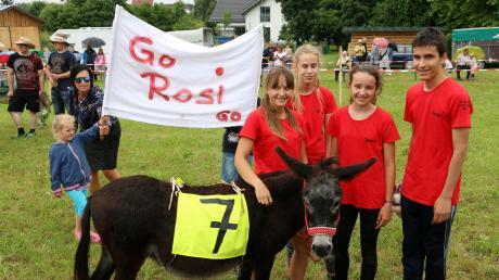 Eselin Rosi und ihre Begleiter flitzten beim Eselrennen in Ellzee als Schnellste über die Rennbahn.