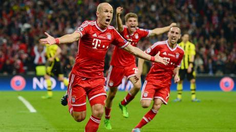 Der Moment der Krönung: 2013 schießt Arjen Robben den FC Bayern zum Sieg in der Champions League. Nach zehn Jahren beim deutschen Rekordmeister gab der Außenstürmer sein Karriereende bekannt.