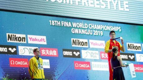 Keine Lust: Mack Horton (li.) boykottiert die Siegerehrung mit Sun Yang (Mitte) und Gabriele Detti.