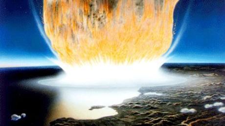 Der Asteroid im Bild erscheint viel größer als der rund zehn Kilometer lange Felsen von dem Wissenschaftler annehmen, dass er vor 66 Millionen Jahren auf der Erde aufschlug.