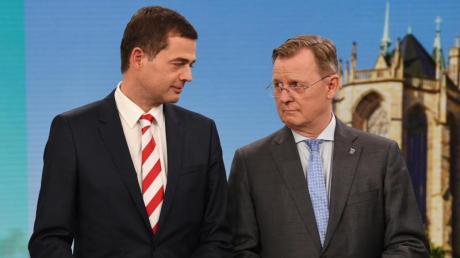 CDU-Spitzenkandidat Mike Mohring (l) und Thüringens Ministerpräsident Bodo Ramelow.