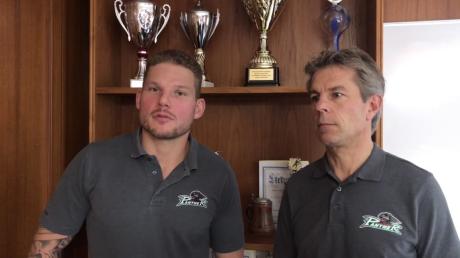 AEV-Kapitän Steffen Tölzer (links) wird Sportmanager Duanne Moeser bald als Rekordspieler überflügeln.