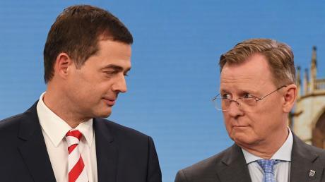 Unwahrscheinliche Partner: Mike Mohring (links), CDU-Spitzenkandidat, steht neben Ministerpräsident Bodo Ramelow (Die Linke).
