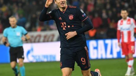Vier Treffer steuerte Robert Lewandowski zum Bayern-Sieg in Belgrad bei.