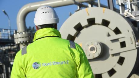 Die Baustelle der Ostseepipeline Nord Stream 2.