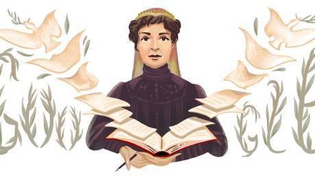 Bertha  von Suttner: Google ehrt die Schriftstellerin und erste Nobelpreisträgerin heute mit einem Doodle.
