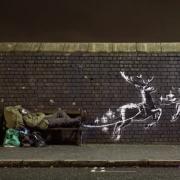 """Das Standbild aus einem Banksy-Video zeigt das neue Kunstwerke mit dem Titel """"God Bless Birmingham"""" (""""Gott segne Birmingham"""") in der Vyse Street."""