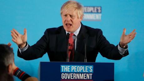dpatopbilder - 13.12.2019, Großbritannien, London: Boris Johnson, Premierminister von Großbritannien, spricht vor Parteianhängern nach der Parlamentswahl. Die Konservativen von Premierminister Boris Johnson haben die Parlamentswahl in Großbritannien klar gewonnen. Foto: Frank Augstein/AP/dpa +++ dpa-Bildfunk +++