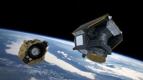"""Künstlerische Darstellung von Cheops (Characterising Exoplanet Satellite), kurz nachdem sich der Satellit vom """"Fregat""""-Teil der Trägerrakete gelöst hat."""