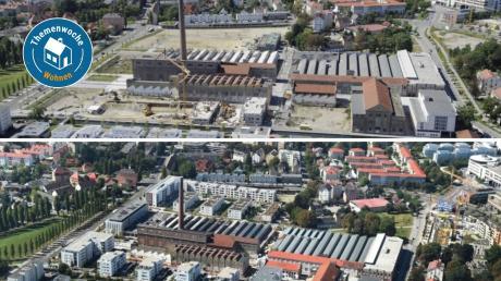Das Textilviertel mit der ehemaligen Kammgarnspinnerei: Das Bild oben aus dem Jahr 2012 zeigt Brachflächen, die nach dem Abriss von Fabrikhallen entstanden.