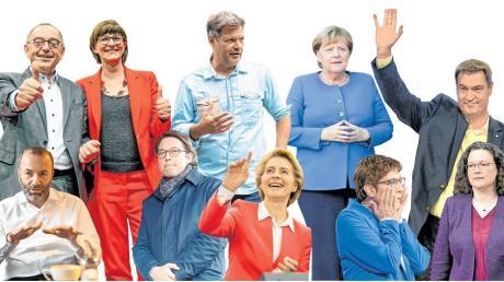 Köpfe des Politjahres 2019 (oben von links): Norbert Walter-Borjans, Saskia Esken, Robert Habeck, Angela Merkel und Markus Söder. Unten von links: Manfred Weber, Andreas Scheuer, Ursula von der Leyen, Annegret Kramp-Karrenbauer und Andrea Nahles.