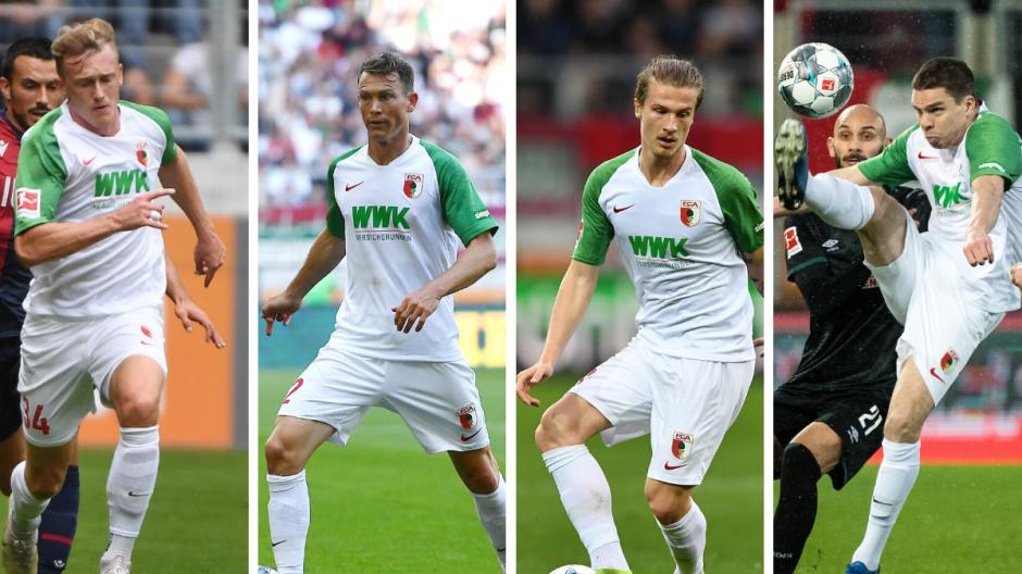 Wer spielt gegen Eintracht Frankfurt? Bislang hat FCA-Trainer Schmidt dort vier Spieler eingesetzt: (von links) Georg Teigl, Stephan Lichtsteiner, Tin Jedvaj und Raphael Framberger.