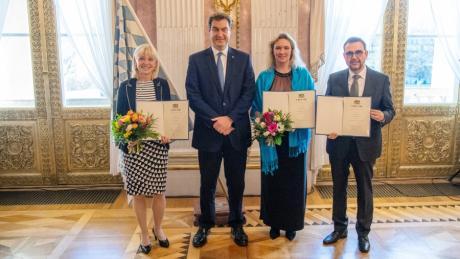 Familienministern Carolina Trautner (v.l.n.r.), Ministerpräsident Markus Söder, Verkehrsministerin Kerstin Schreyer und Klaus Holetschek, Staatssekretär für Verkehr.