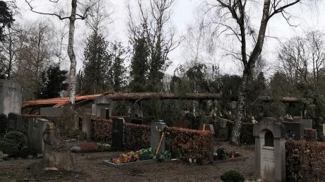 Auch auf dem Westfriedhof stürzten Bäume bei dem Orkan um.