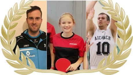 Wer wird AN-Sportler des Monats Januar? Sie haben die Wahl zwischen Volleyballer Thomas Wolf (links), Tischtennisspielerin Viktoria Haberer (Mitte), und Basketballer Benedikt Herz (rechts).