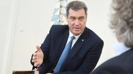 Interview mit dem Bayerischen Ministerpräsidenten Markus Söder in der Staatskanzlei in München.