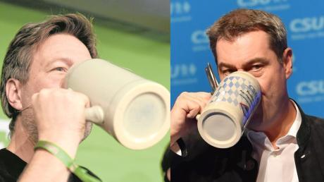 Die Maß Bier darf beim politischen Aschermittwoch nicht fehlen – ob bei Robert Habeck in Landshut (links) oder bei Markus Söder in Passau.