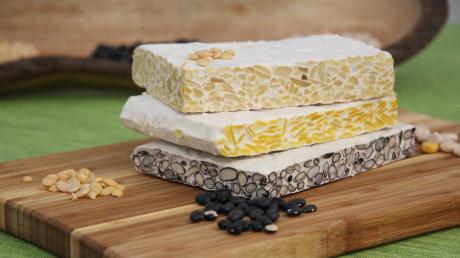 Tempeh ist eine Spezialität aus Indonesien, die besonders bei Vegetariern und Veganern ein beliebter Fleischersatz ist. Sie wird aus Hülsenfrüchten gewonnen, zum Beispiel aus schwarzen Bohnen (unterste Schicht), Lupinen (Mitte) und Sojabohnen (oben).