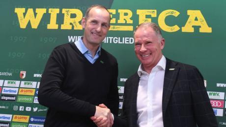 Der neue FCA-Trainer Heiko Herrlich mit Sportgeschäftsführer Stefan Reuter.