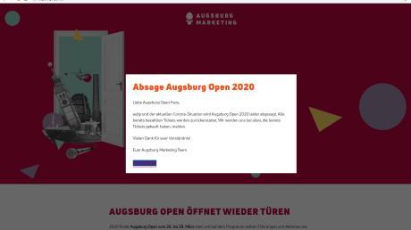 """Die beliebte Veranstaltungsreihe """"Augsburg open"""" fällt aus. Auf der Internetseite wird darauf hingewiesen."""