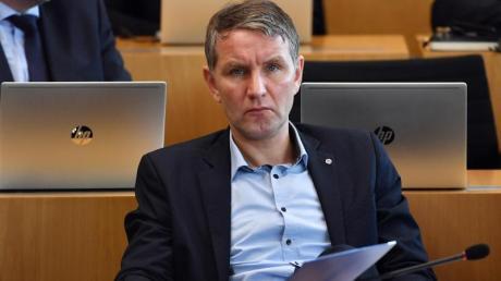 Björn Höcke, AfD-Fraktionschef von Thüringen, im Plenarsaal des Thüringer Landtages.
