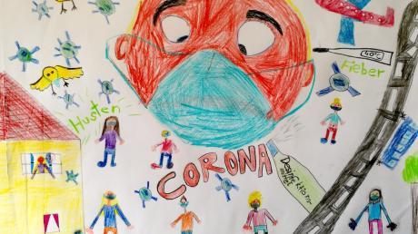 So haben Lilly, Sophie, Lara und Ina von der Leopold-Mozart-Grundschule in Leitershofen bei Augsburg das Corona-Thema zu Papier gebracht.