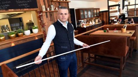 Ilir Seferi hat in seinen Gastronomien umgestellt.  So wird der Abstand von 1,5 Metern eingehalten.