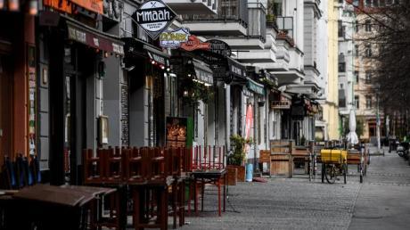 Geschlossene Bars und Restaurants im Stadtteil Berlin-Friedrichshain.