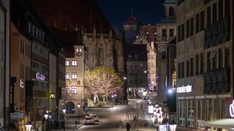 Die Nürnberger Altstadt rund um den Hauptmarkt ist menschenleer.